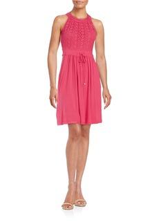 CALVIN KLEIN Floral Lace Halter Dress