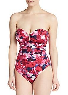 Calvin Klein Floral-Print Bandeau Maillot Swimsuit