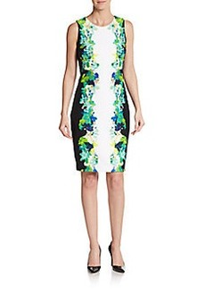Calvin Klein Floral Print Bordered Sheath Dress