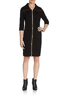 Calvin Klein Front-Zip Knit Dress