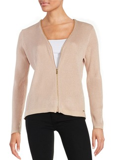 CALVIN KLEIN Front Zipper Ribbed Cardigan