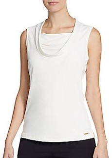 Calvin Klein Gathered Cowlneck Stretch-Jersey Top