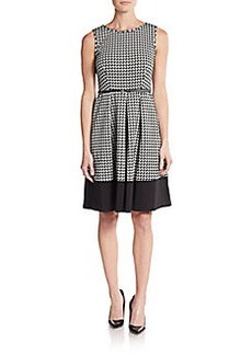 Calvin Klein Geo-Print Belted A-Line Dress
