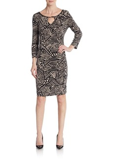 Calvin Klein Geo-Print Keyhole Sheath Dress