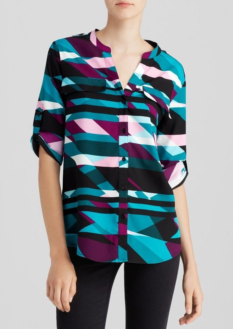 Calvin Klein Geometric Roll Sleeve Shirt