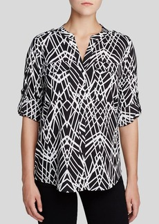Calvin Klein Graphic Print Roll Sleeve Blouse