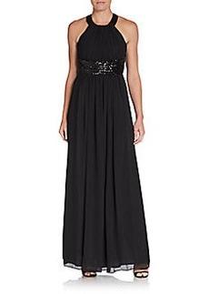 Calvin Klein Grecian Sequin-Detail Gown