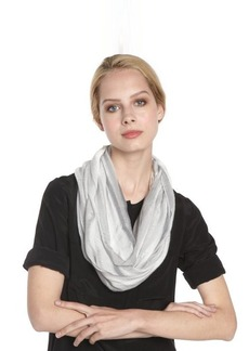Calvin Klein grey open weave striped infinity scarf