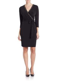 CALVIN KLEIN Grommet-Trim Wrap Dress