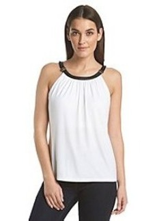 Calvin Klein Halter Top With Faux Leather Trim