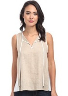 Calvin Klein Hi-Lo Mixed Linen Top