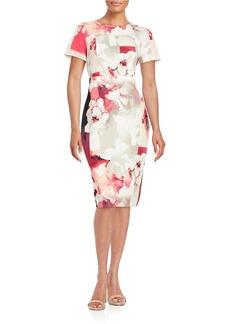 CALVIN KLEIN Hibiscus Print Midi Dress