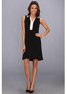 Calvin Klein High-Low Dress w/ Collar
