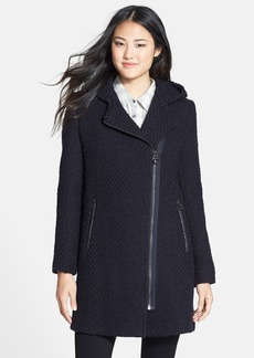 Calvin Klein Hooded Asymmetric Zip Bouclé Coat