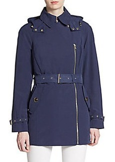 Calvin Klein Hooded Asymmetrical Zip Coat