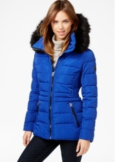 Calvin Klein Hooded Faux-Fur-Trim Quilted Puffer Coat