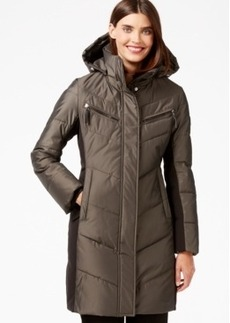 Calvin Klein Hooded Quilted Colorblock Puffer Coat