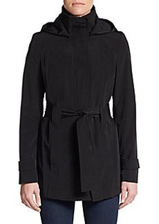 Calvin Klein Hooded Tie-Belt Jacket