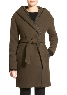 Calvin Klein Hooded Wool Blend Wrap Coat