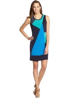 Calvin Klein indigo and green colorblock stretch jersey sleeveless dress
