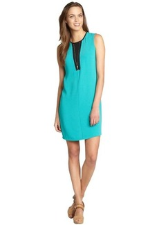 Calvin Klein jadette and black o-ring zip front sleeveless shift dress