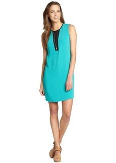Calvin Klein jadette and black o-ring zip front sleeveless shift dress