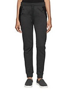 CALVIN KLEIN JEANS Faux Leather-Accented Sweatpants