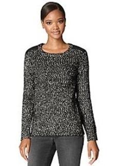 Calvin Klein Jeans® Faux Leather Shoulder Crewneck Sweater