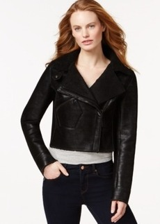 Calvin Klein Jeans Faux-Shearling Cropped Moto Jacket