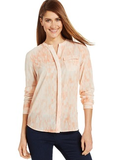 Calvin Klein Jeans Long-Sleeve Button-Front Printed Shirt