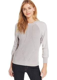 Calvin Klein Jeans Long-Sleeve Mixed-Media Sweater