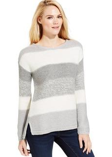 Calvin Klein Jeans Long-Sleeve Striped Metallic-Knit Sweater