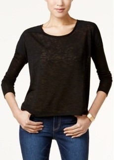 Calvin Klein Jeans Mixed-Media Three-Quarter-Sleeve Top