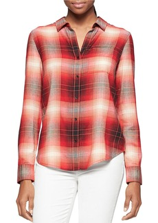CALVIN KLEIN JEANS Plaid Button-Down Blouse