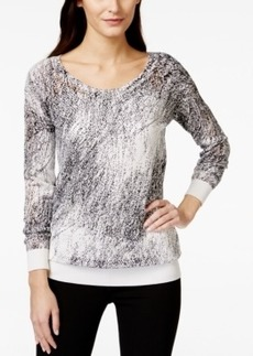 Calvin Klein Jeans Printed Perforated Pullover Sweater