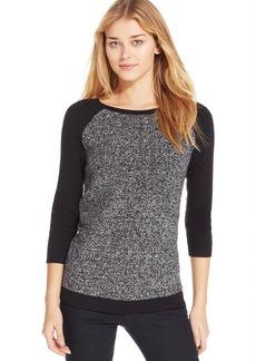 Calvin Klein Jeans Three-Quarter-Sleeve Mixed-Media Sweater