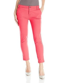 Calvin Klein Jeans Women's Abbreviated Luxury Twill Crop Pant, Coral Flower, 30