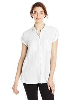 Calvin Klein Jeans Women's Cap Sleeve Utility Woven, Classic White, Medium