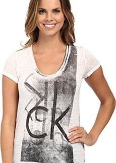 Calvin Klein Jeans Women's CK Stud Tee, White, Medium