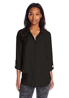 Calvin Klein Jeans Women's Double Front Fray Shirt, Black, Large