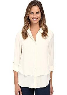 Calvin Klein Jeans Women's Double Front Fray Shirt, Gardenia, Large