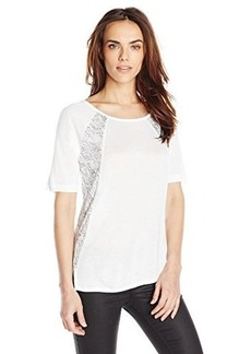 Calvin Klein Jeans Women's Elbow Sleeve Blocked Tee, White, Small