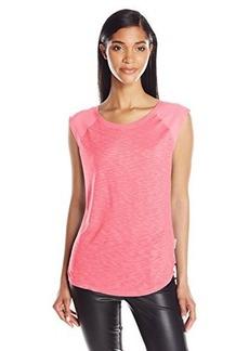 Calvin Klein Jeans Women's Extended Raglan Sleeve Mixed Slub Top