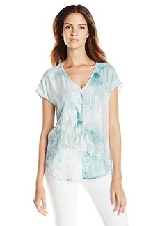 Calvin Klein Jeans Women's Extended Sleeve V-Neck, Industrial Sage, Large