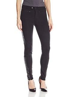 Calvin Klein Jeans Women's Foiled Suede Ponte Pant, Black, 30