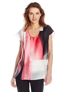 Calvin Klein Jeans Women's Geometric Print Cap Sleeve Top, Coral Flower, Small
