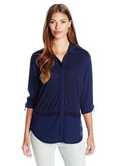 Calvin Klein Jeans Women's Knit Blocked Button Front, Deep Denim, Small