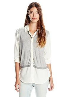 Calvin Klein Jeans Women's Knit Blocked Button Front, Misty White, Large