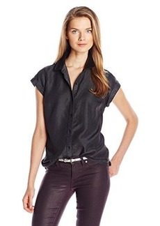 Calvin Klein Jeans Women's Leather Trimmed Sleeveless Top, Black, Large