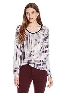 Calvin Klein Jeans Women's Long Sleeve Downtown Tee, Pewter, X-Large